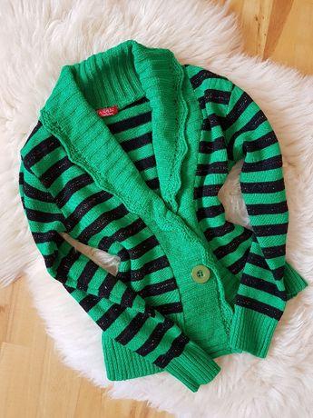 Ciepły sweter zielony w paski kardigan 36 38