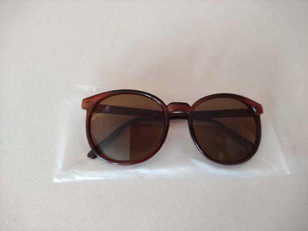 Солнцезащитные женские коричневые очки круглые