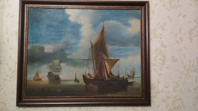 Старая Картина неизвесного художника. Морськой пейзаж !!!