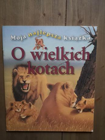 """Książka pt. """"O wielkich kotach""""."""