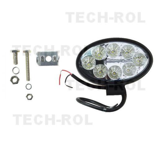 Lampa robocza 8 LED owalna 24W MEGA MOC najtaniej 12-24V