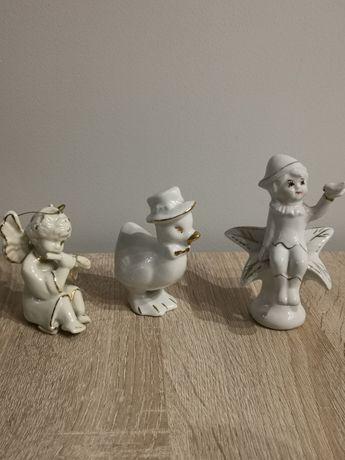 Figurki porcelanowe: aniołek, kaczka,elf