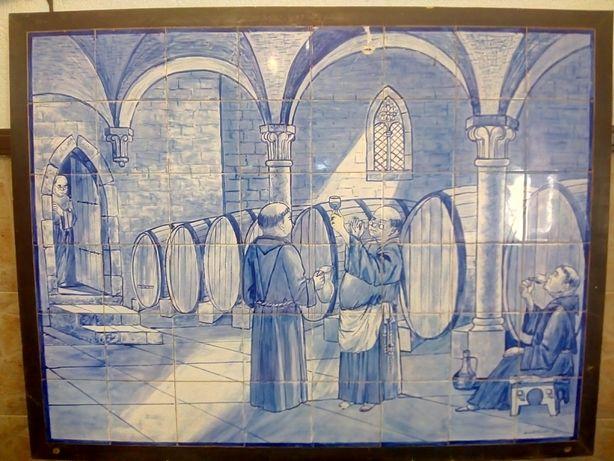 Quadro pintado a mão azulejos