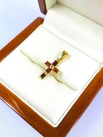Złota zawieszka pr.585 14k Krzyż - PLUS Lombard