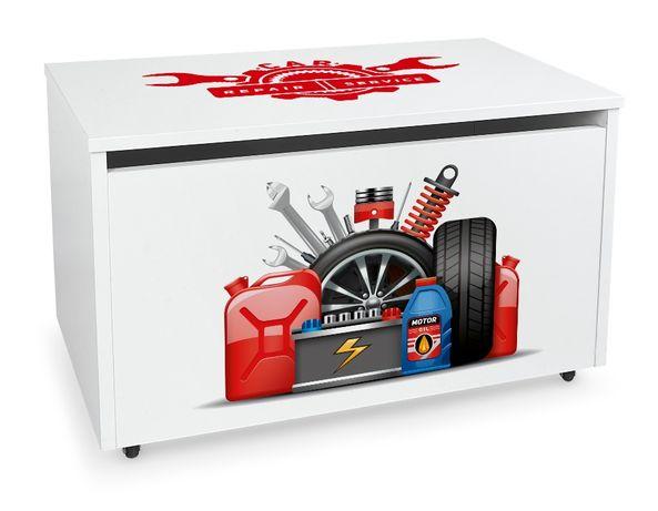Duża drewniana skrzynia na zabawki XXL na kółkach Motyw: Auto serwis