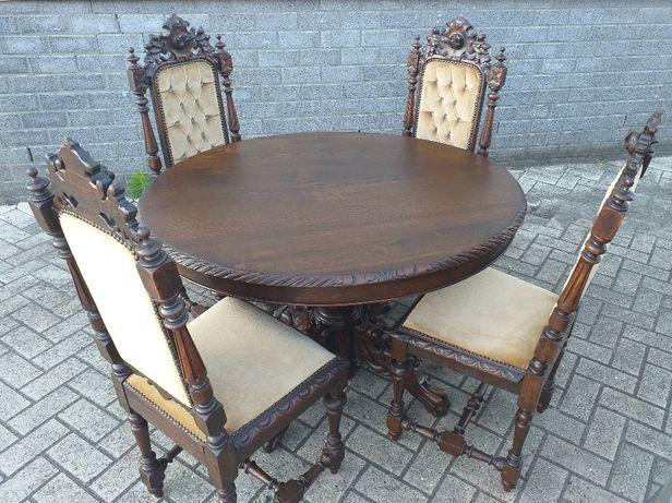 Stół , krzesła zabytkowe , antyk , stół z krzesłami