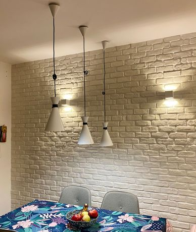 3 lampy wiszące białe/czarny sznur