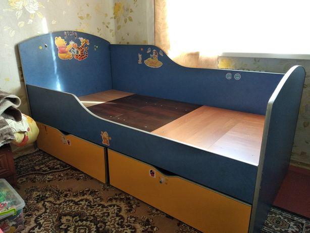Кровать детская с ящиками с бортиком
