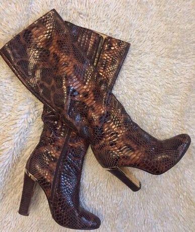 Сапоги женские высокие лаковые принт питон змея чулки чоботи жіночі