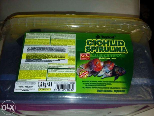 Comida peixes tropical cichlid spirulina medium sticks avulso