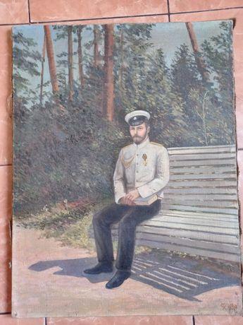 Картина Император Николай в парке на лавочке