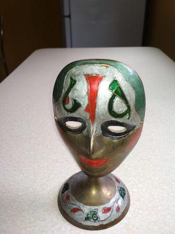Mosiężna maska na podstawce 18.5 cm wysokości