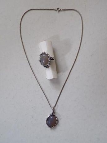Piękny srebrny komplet 22,48 g. naszyjnik + pierscionek - srebro 925