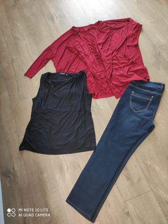 Zestaw damski nowe  jeansy bluzka i narzutka w rozmiarze 46/48