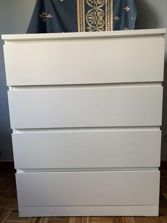 Cómoda MALM c/4 gavetas, branco80x100 cm