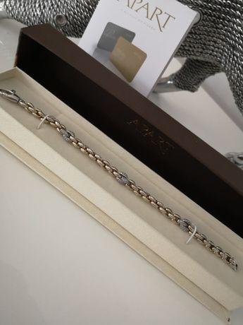 APART piękna srebrno pozłacana bransoletka roz 19 PIĘKNA
