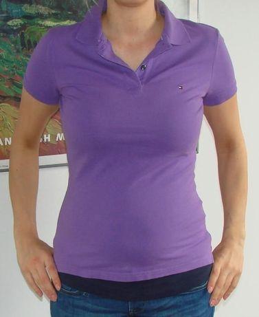 TOMMY HILFIGER- fioletowa koszulka polo- S