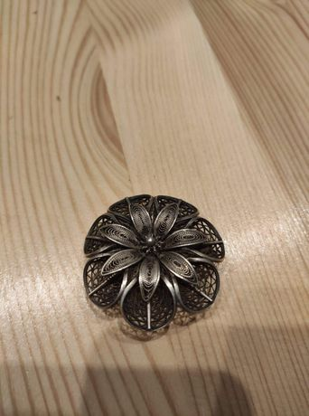 Broszka Filigran Imago Artis Przedwojenna Kwiat Srebro
