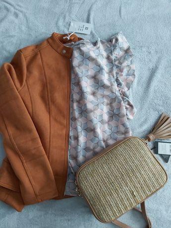Bluzka krotki rękaw, lato, różowo-szara