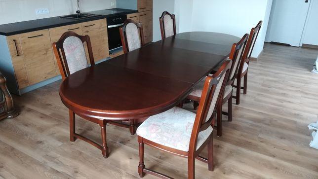 Stół dębowy rozkładany z 6 krzesłami
