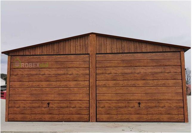 Garaż blaszany drewnopodobny złoty dąb orzech 3x5 4x5 4x6 5x6 6x5 6x6