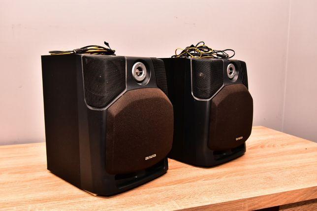 Kolumny głośnikowe bass reflex Aiwa z głośnikami front surround.