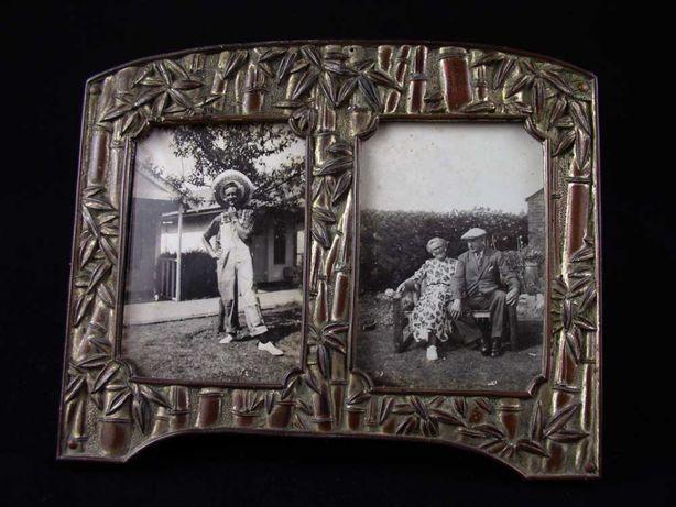 Śliczna stara miedziana ramka na 2 zdjęcia - lata 20~30