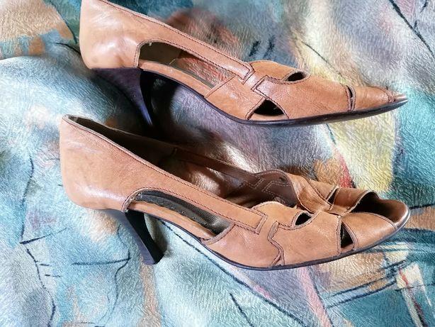 Skórzane buty szpilki półbuty pantofle czółenka, odkryty palec 38