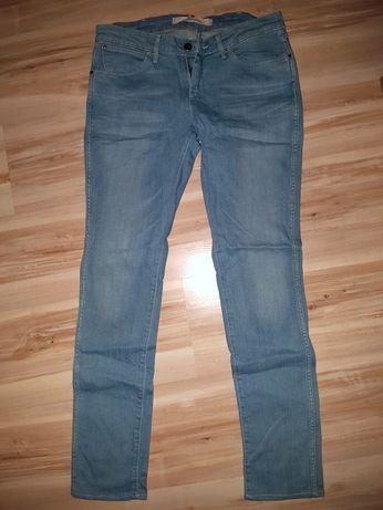 spodnie Wrangler Lancaster L28 W34 (skracane) jeansy rurki niebieskie