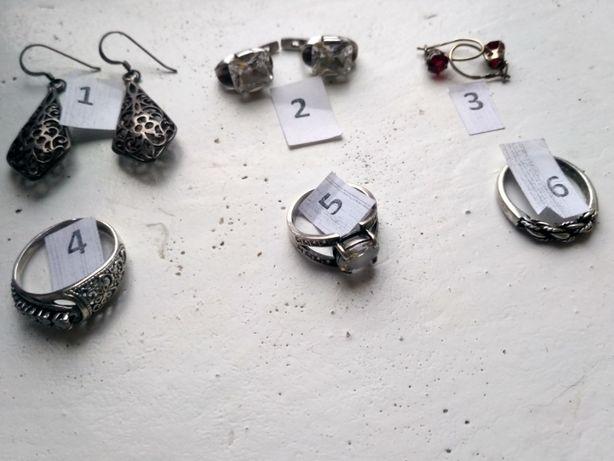 Серебряный винтажный гарнитур серьги и кольцо перстень рубин хрусталь