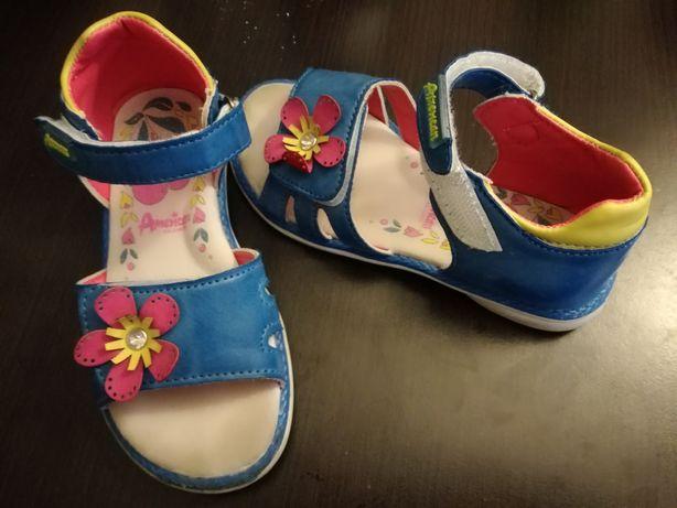 Buty, sandały niebieskie z kwiatem, lato, wiosna, r.28-29