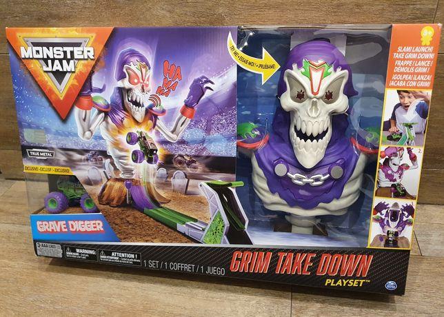 Zestaw Monster Jam Grim Take Down Zombie - Grave Digger