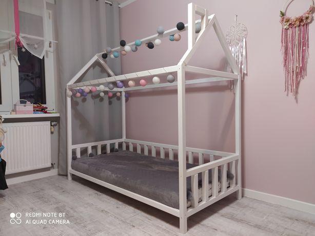~ Łóżko domek~ + materac Hevea SnuDo 180x80 ~ łóżeczko drewniane białe
