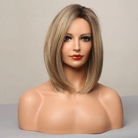 Peruka bob long blond