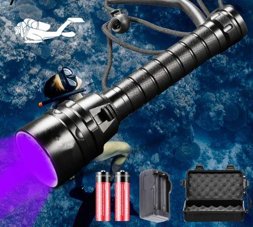 Lanterna Mergulho luz Ultravioleta UV com triplo Led incluí bateria