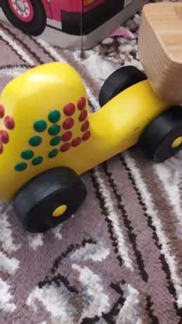 Деревянная машина трактор с прицепом