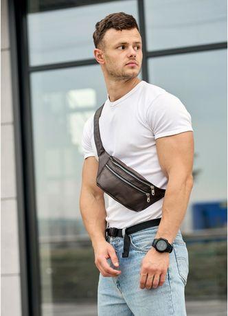 Чоловіча шкіряна сумка на пояс