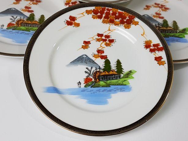 Talerze deserowe Hayasi Kutani japońska kostna porcelana, motyw orient