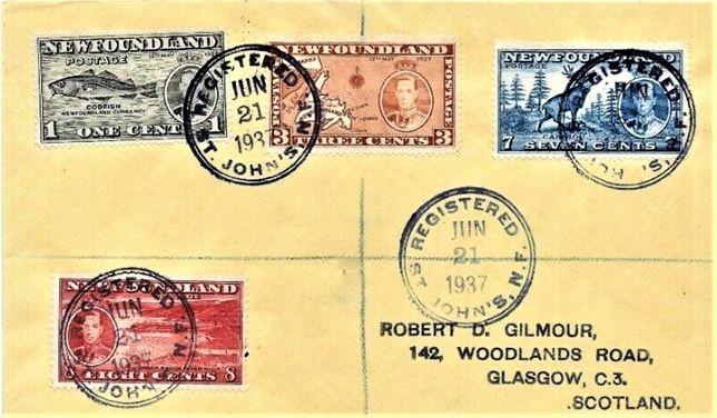 Nowa Fundlandia 1937 FDC-3 koperty polecone-RZADKIE! GRATIS WYSYŁKA!