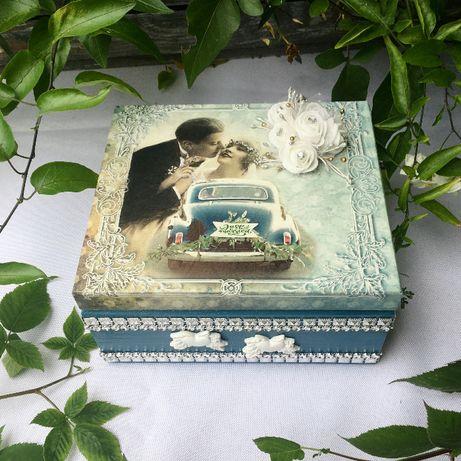 Pudełko ślubne 18x16x9 decupage retro vintage szkatułka prezent ślub