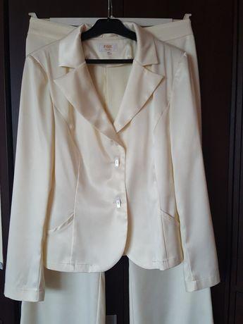 GARNITUR satynowy, marynarka + spodnie, kostium, żakiet ze spodniami