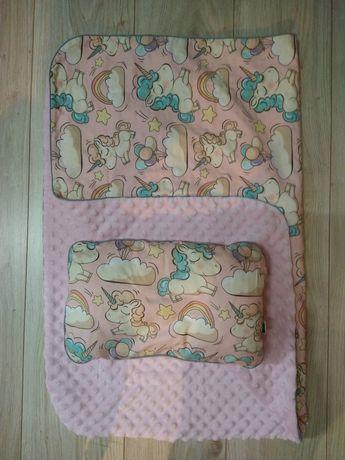 Kocyk i poduszka dwustronne z minkey