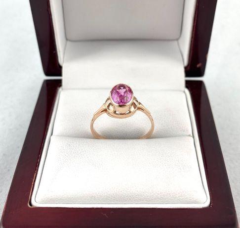 ZŁOTY pierścionek z barwnym kamieniem PR. 585 (14K) rozmiar 15