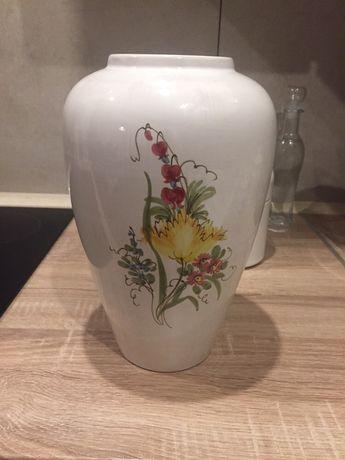Duży wazon porcelanowy recznie malowany z motywem kwiatów - Germany