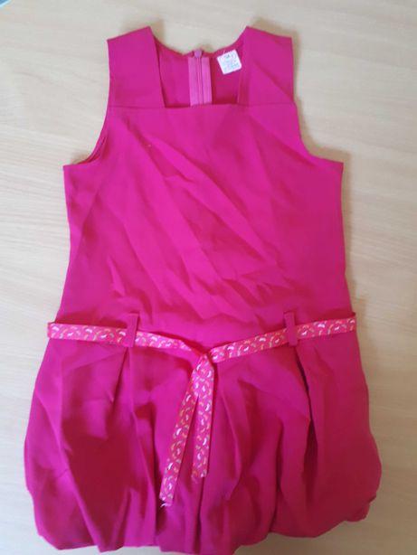 Sukienka różowa,dół bombka,rozmiar 128-134