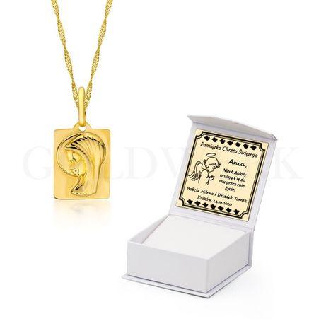 GRAWER Piękny Złoty 585 Łańcuszek z Medalikiem na Chrzest Medalik