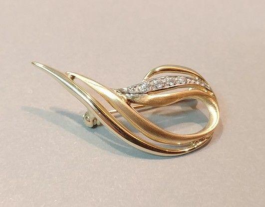 Śliczna złota broszka z cyrkoniami 3.19g p.585 LID