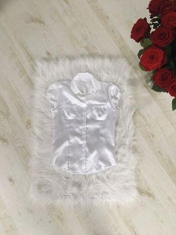Biała koszula na krotki rekaw satynowa rozmiar 158 cm
