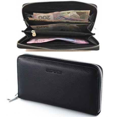 Большой мужской кожаный кошелек клатч портмоне барсетка на молнии