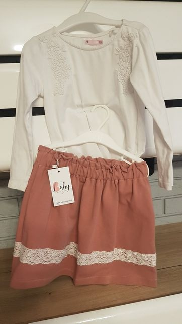 110 babyproject handmade spodniczka old rose brudny róż z koronka